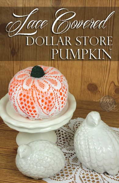 Lace covered dollar store pumpkin