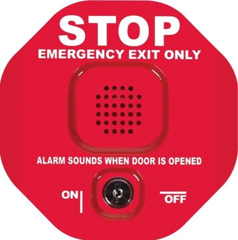 Pintu keluar darurat. Alarm berbunyi jika pintu dibuka