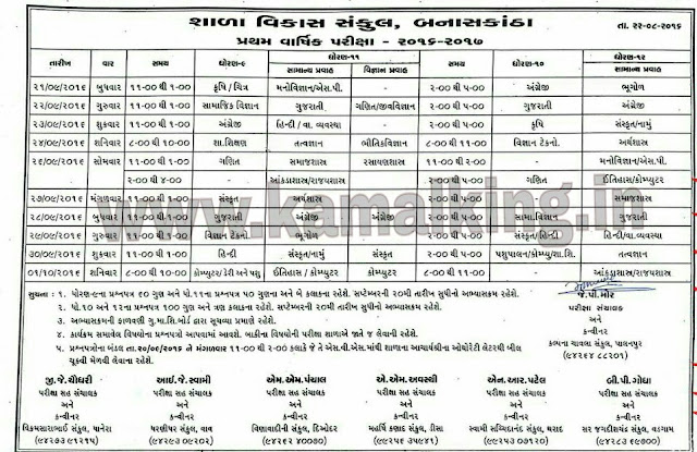 FIRST EXAM TIME TABLE OF STD. 9-12 FOR BANASKANTHA DISTRICT