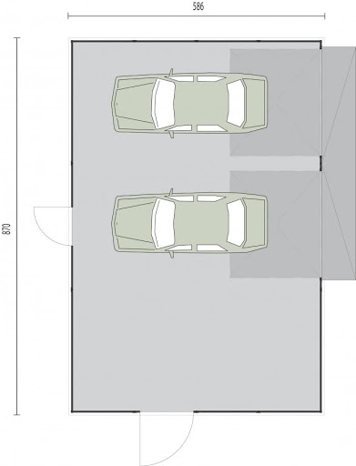 GB7 Garaż Blaszany otynkowany - Rzut przyziemia