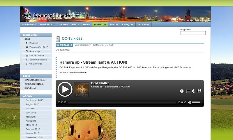 Screenshot: blog.opencaching.de