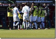 L'esultanza dei calciatori del Napoli