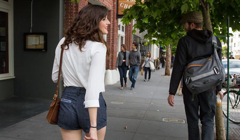 New Women's Striped Denim Shorts