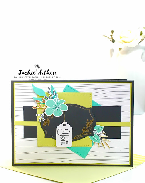 stampin up floral frames, cake soiree, tropical chic