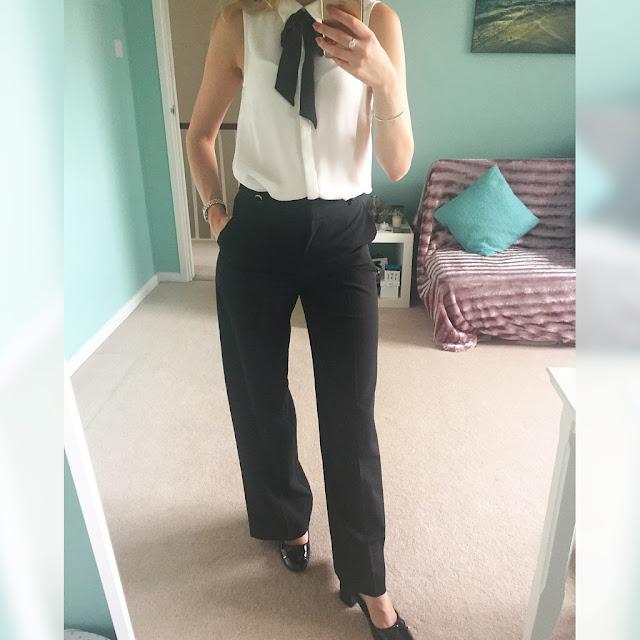 H&M, blouse, tie neck, Miss Selfridge, wide leg trousers