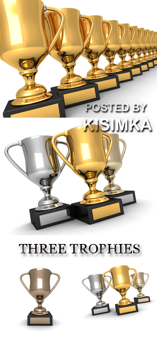 Stock Photo: THREE TROPHIES, GOLD, SILVER AND BRONZE
