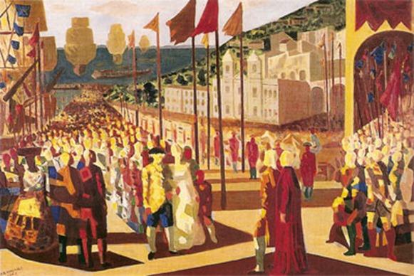 A chegada de D. João VI à Bahia - Candido Portinari