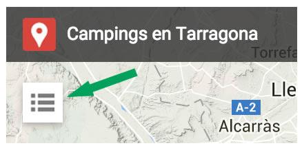 Mapa de campings en Tarragona