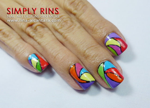 Colorful Abstract Nail Art Design 02