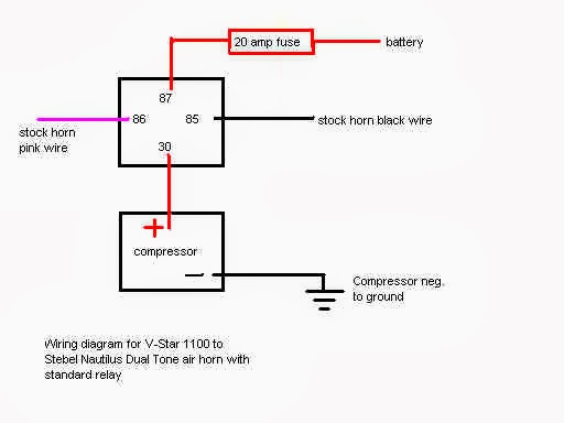 Horn realy diag%2520 electronics v star 1100 wiki knowledge base Relay Switch Wiring Diagram at crackthecode.co