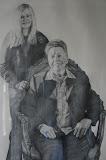 Claudia & oma - 63 x 105 cm - potlood op papier (Serie 'Karakteristieke Hiekers')