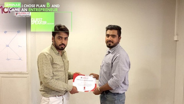 Abrar khan giving certificates at Eureka