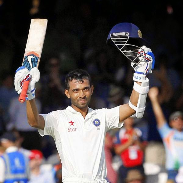 India's Ajinkya Rahane acknowledges the crowd after reaching a century not out during play on the first day of the second cricket Test match between England and India at Lord's cricket ground in London on July 17, 2014.