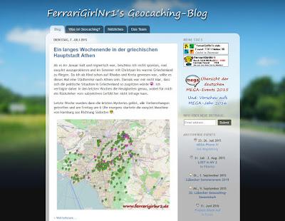 Blogvorstellung FerrariGirlNr1s Geocaching-Blog: Screenshot vom Blog