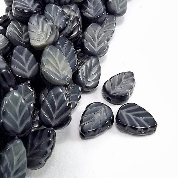Jet Marbled Czech Glass Leaf Beads