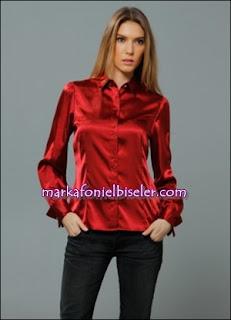 markafoni Marks and Spencer kırmızı saten gömlek modelleri
