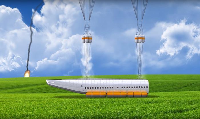 Avião que possibilita a sobrevivência em caso de queda