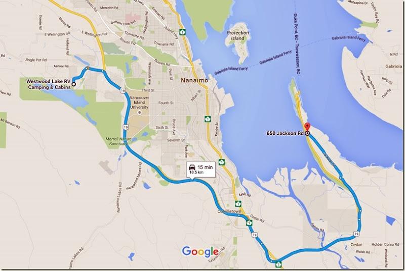 Westwood Lake R V Camping & Cabins to 650 Jackson Rd, Nanaimo, BC V9X 1J2 - Google Maps