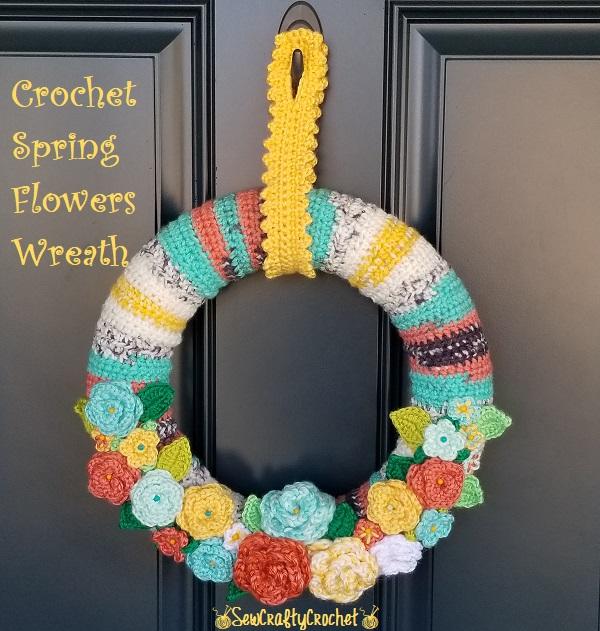 pastel crochet door wreath