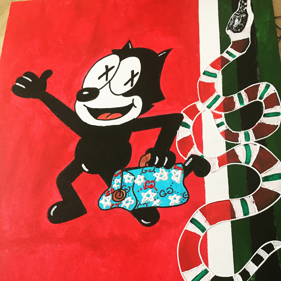 9f67dc99270 Felix the Cat Gucci edition. 24x24 acrylic painting