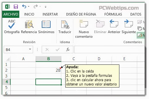 2 Formas de Agregar Comentarios en Excel 2013 | Formulas y Celdas ...