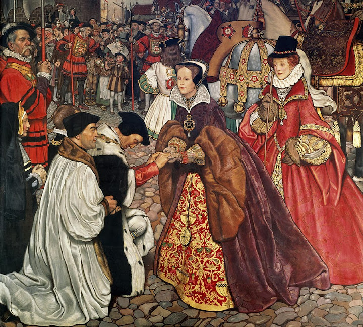 Byam Shaw - The Entrance of Mary I with Princess Elizabeth into London, 1553