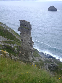 A pinicle of rock at the former Lanterdan  quarry workings at Hole Beach near Trebarwith Strand