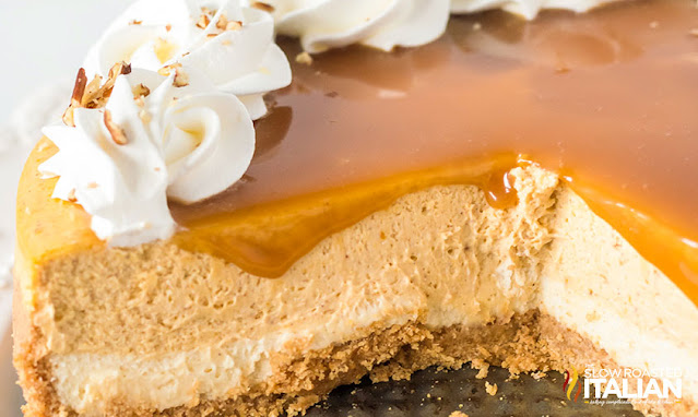 slice of cheesecake out of the pumpkin pie cheesecake