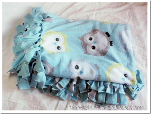 No Sew Fleece Throw Blanket with Owl Print Fleece