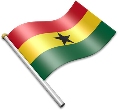 The Ghanaian flag on a flagpole clipart image