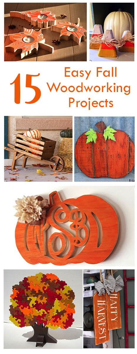 Easy beginner woodworking projects for fall. Pumpkins and leaves make for great autumn building projects.