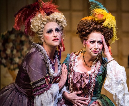IN REVIEW: Soprano JULIE CELONA-VANGORDEN as Clorinda (left) and mezzo-soprano CLARA O'BRIEN as Tisbe (right) in Greensboro Opera's production of Gioachino Rossini's LA CENERENTOLA, August 2015 [Photo © by Artisan Images/David Wilson, used with permission]
