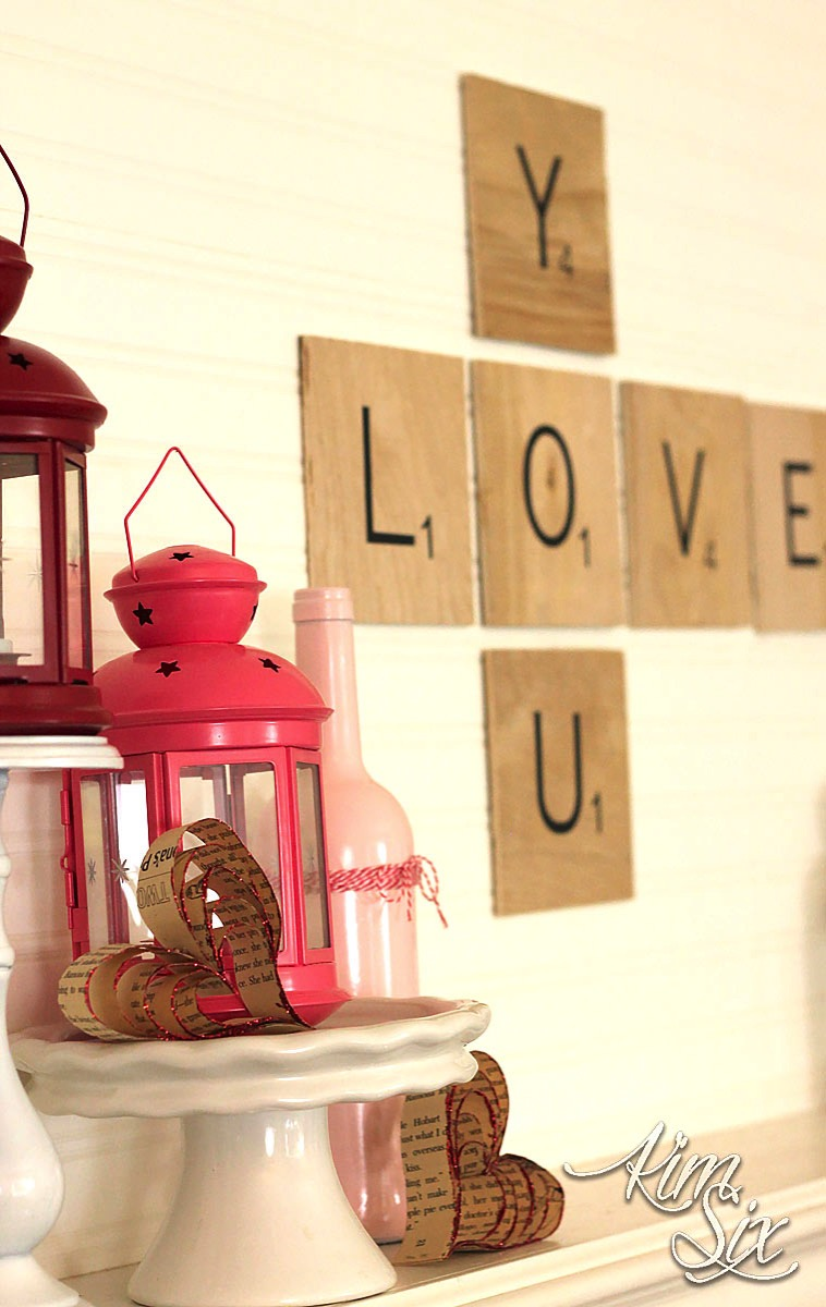 Pink lanterns and scrabble letter mantel