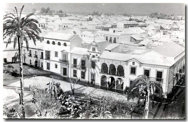 El Ayuntamiento.-Nevada en Dos Hermanas 3 de febrero de 1954