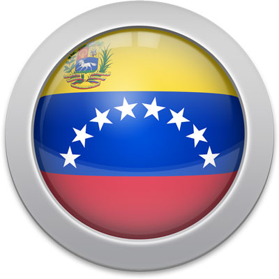 Venezuelan flag icon with a silver frame