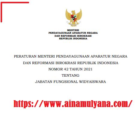 Peraturan Menpan RB datau Permenpan RB Nomor 42 Tahun 2021 Tentang Jabatan Fungsional Widyaiswara