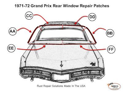 Grand Prix,window channel rust,Belden Speed & Engineering,Rustreplace.com,rear window channel rust,rear window channels
