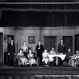 Jack B. Dowling, Betty Doyle, Jean Salisbury, Arline Huntington, Emmett O'Brien, Linda Bock, Roberta McWade, Owen Begley, Betty Huntley and F. Morley Roberts in ALL IN THE FAMILY - October 1933.  Property of The Schenectady Civic Players Theater Archive.