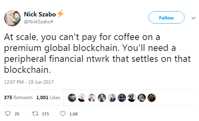 Nick Szabo tweet on premium global blockchain