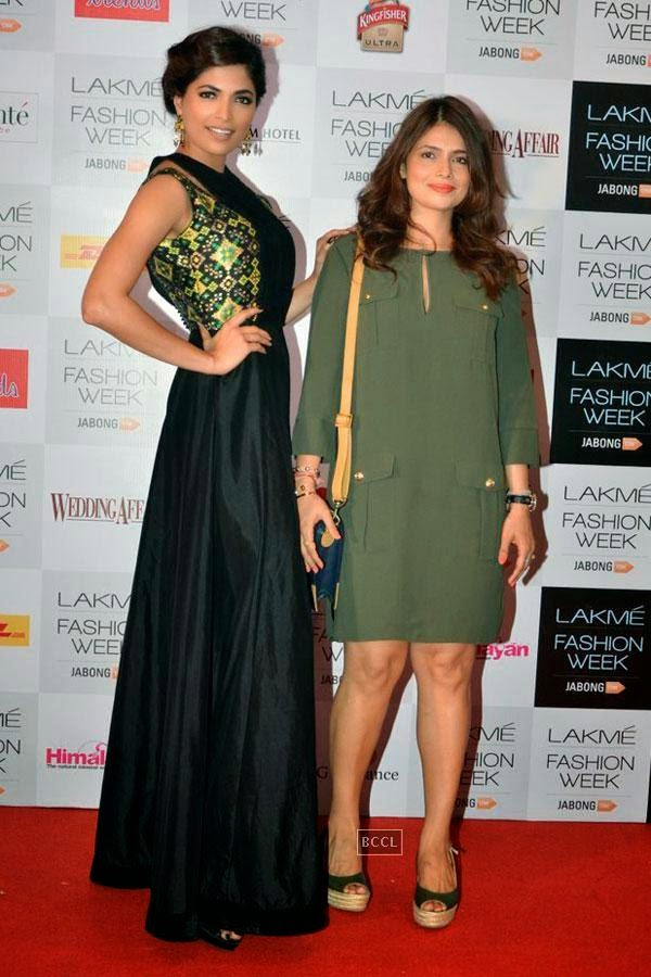 Femina Miss India World 2008 Parvathy Omanakuttan with fashion designer Shruti Sancheti during Lakme Fashion Week curtain-raiser, held in Mumbai, on July 28, 2014. (Pic: Viral Bhayani)