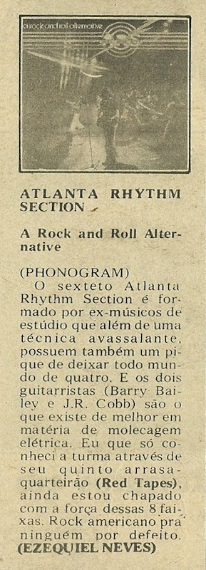 Atlanta Rhythm Section, A Rock And Roll Alternative - Jornal de Música 1977-08