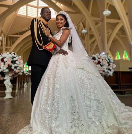 ''My wife's wedding dress has over 560 Carat of hand picked Swarovski diamonds from six different countries - Luxury designer, Malivelihood says