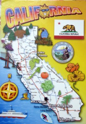 postcards, map cards, California