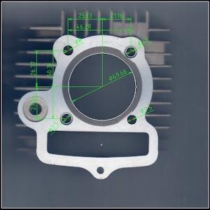 カブ ボアアップシリンダー(キャブレター仕様)と寸法