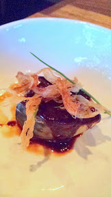 Nodoguro Pop-up Course 5: Poached Mackerel steak in haccho miso, with shimonita leek buds and ginger