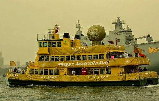 One of the Sydney Ferries decked up for Race Day. Celebrating Australia Day in Sydney Harbour
