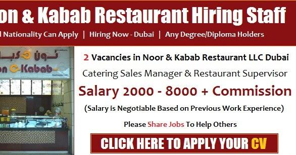 Dubai Restaurant Jobs for Catering Sales Manager & Supervisor ...