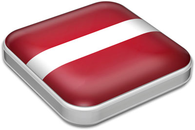 Flag of Latvia with metallic square frame