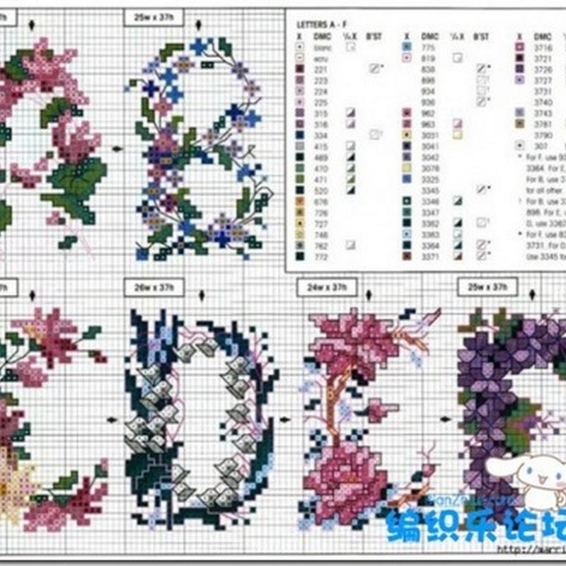 Abecedario floral punto de cruz