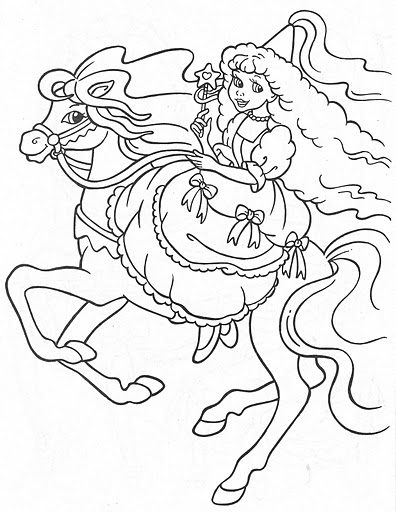 princess horses coloring pages - princess in her horse free coloring pages